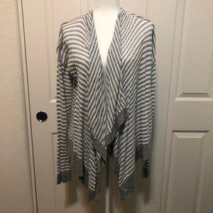 Gray Stripped Open Sweater